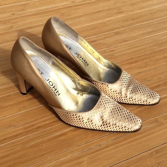 St. John Shoes - ST. JOHN Gold Heels Pumps Women's 5